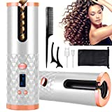 Hair Curler Automatic Cordless Curling Iron Wireless Hair Curler with LCD Temperature Display and Timer, Portable Rechargeable Ceramic Automatic Hair Curler Wand Fast Heating Hair Curler (Silver)