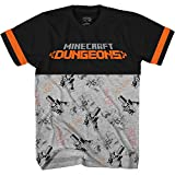 Minecraft Boys Video Game T-Shirt - Black and Green Creeper Face - Official Shirt (Black Grey, Medium)