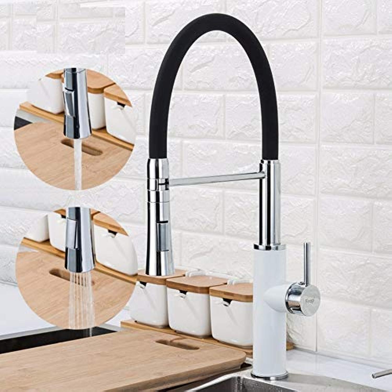 Schwarzweiss-Spülbecken-Hahn-heie kalte Wasser-Mischbatterien für Küche Ziehen Sie Hahn2 Funktions-Auslauf heraus