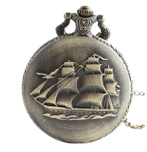 Unendlich U Retro Ancient Sailboat/Warships/Pirate Schiff mit groß Quarz Taschenuhr Halskette und Lange Kette für Damen/Herren/Mädchen/Junge/Kinder