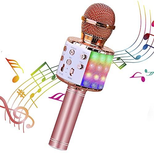 ShinePick Karaoke microfoon, bluetoothmicrofoon, kinderen, dansen, led-verlichting, draadloze draagbare microfoon met…