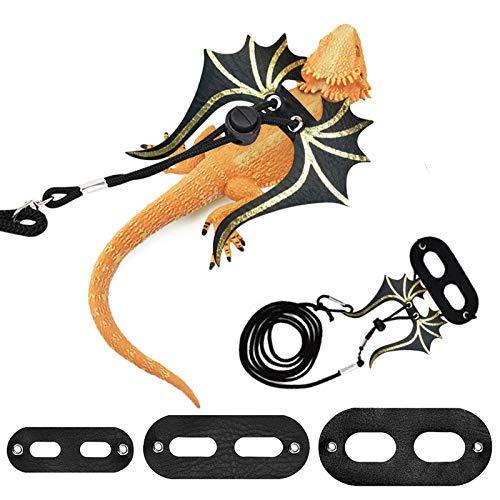 WANDIC Correa ajustable de lagarto de 3 piezas, arnés de dragón barbudo correa suave con alas de cuero para caminar para lagartos pequeños reptiles de mascotas anfibios (S M L)
