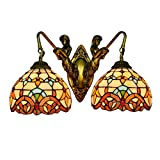 Lámpara colgante 8 pulgadas británica moderna Corredor Mermaid Pared Doble Doble cabeza de la lámpara del faro barroco Stained Glass Salón Dormitorio restaurante Lámpara vidriada Bar Colgante de luz