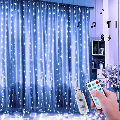 24HOCL 300 LED Window Curtain String Light USB Powered, 4 Music Control 8 Lighting Modes Waterproof Decorative Lights for Wedding Party Home Garden Bedroom Outdoor Indoor Wall Decorations, Cold White