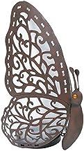 """Lamp """"Vlinder"""" van metaal, LED-lampje werkt op zonnecellen, in het donker straalt een zacht groene lamp achter de vleugel..."""