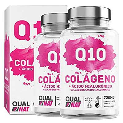 Collagen with hyaluronic Acid and coenzyme Q10 for Healthy Young Skin - Collagen and hyaluronic Acid for Joint Care - 180 Capsules