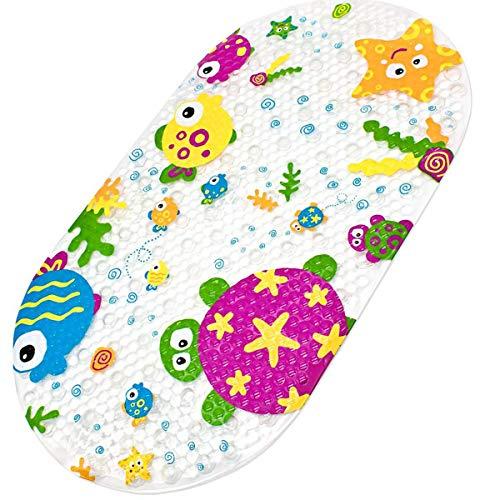 Ruiuzi Cartone Animato Bambini Aspirazione Antiscivolo PVC Tappetino da Bagno Stuoia di Bagno di Sicurezza Cuscinetto Antiscivolo per Vasca da (Tartaruga Giapponese, 39 x 69 cm)