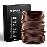 smartect Cable Textil Trenzado en Color Marrón - Cable Electrico 3 hilos de 50 Metros (3 x 0,75 mm²) - Cuerda para Lampara con revestimiento textil para su Proyecto DIY