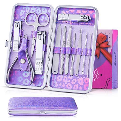 KENED Maniküre Set, Pediküre Kit, 12-teiliges Nagelschere Set, Nagelknipser Set, Geschenke für Frauen, aus Edelstahl mit holografischer Ledertasche