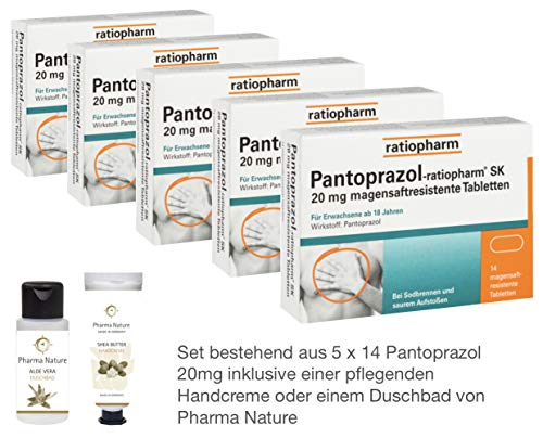 Pantoprazol Ratiopharm SK 20mg 5 x 14 Stück Sparset inkl. einer Handcreme o. Duschbad von Pharma Nature