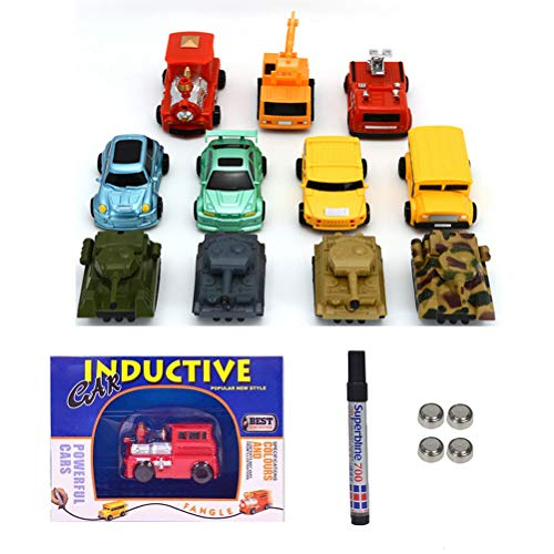 Mini Inductive Car, 2 Piece Train Toy Running Along The Line Drawn by Magic Pen-Good, Halloween/Christmas, Great Gift for Kids & Children [Batteries Included]