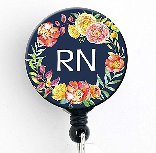 RN Navy Floral Wreath - Retractable Badge Reel with Swivel Clip and Extra-Long 34 inch Cord - Badge Holder