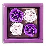Sevenriver Handgemachte koreanische Rosenblüten aus Seife, Violett/Beige, 4 Stück