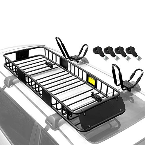 XCAR 64'x23'x6' Roof Rack Rooftop Cargo Basket + Kayak Rack...
