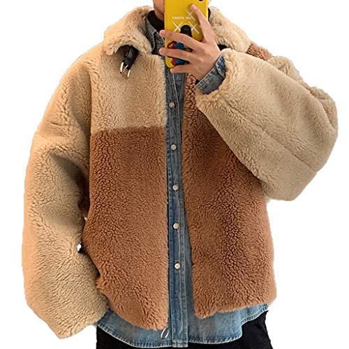 Herren Fleece Winterjacke Plüschjacke Casual Wintermantel Revers Faux Wolle Warm Outwear Sweatjacke Streetwear Loose Cardigan Herbst Winter Fleecejacke Strickjacke Warm Dicken Jacket Khaki