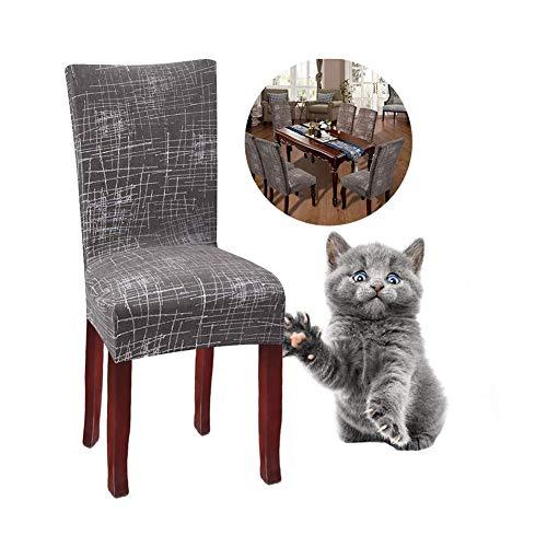 JunYito Stuhlhussen 4er 6er Elastische Set Stuhlhussen Universal Stretchhusse Stuhlbezug Stretch für Stuhl Esszimmer (M-Braun/Graue Linie, 4 Stücke)