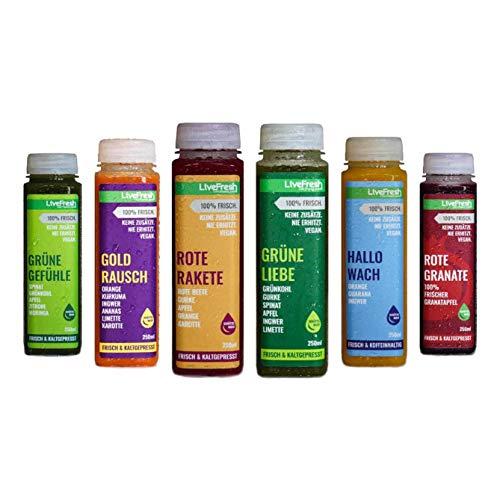 LiveFresh® Probierpaket Wellness Säfte [6 Kombinationen = 250ml x 6] - frische Superfruits wie Ingwer, Kurkuma oder Guarana - Schonend Kaltgepresst - Ohne Zucker & Zusätze