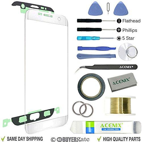Acenix kit di riparazione sostituzione esterno vetro anteriore per Samsung Galaxy S7Edge bianco + 2mm di nastro adesivo e strumenti di apertura Pry