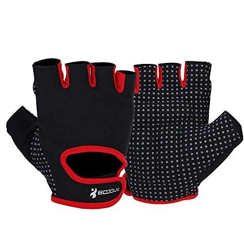 KJLH 1 par de guantes de levantamiento de pesas de medio dedo para gimnasio (rojo)
