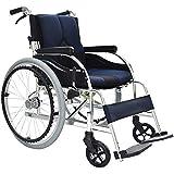 OLDHF Autopropulsable Silla de Ruedas Plegable, portátil Silla de Ruedas de Aluminio, Marco Lightweigh, con Hand Brakes, reposapiés Ajustable, para Ancianos, discapacitados,Azul
