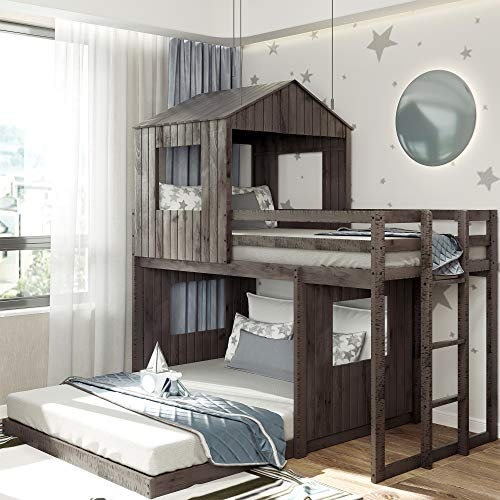 Harper & Bright Designs House Bed Bunk Beds Twin Over Full Size, Wood Bunk Beds with Roof and Guard Rail for Kids, Toddlers, No Box Spring Needed (Antique Grey, Twin Over Full)