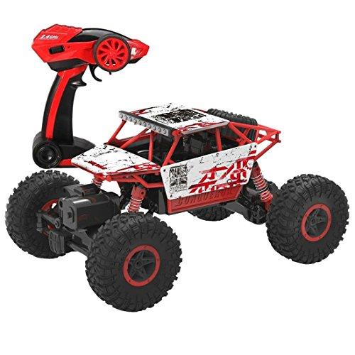 deAO RC Coche TodoTerreno Rock Crawler 4x4 a Control Remoto - 1:18 Rastreador de Roca 2.4GHz Sync System modo Multi Jugador (Rojo) , color/modelo surtido