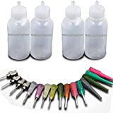 NationInFashion 4 Jewelry Cleaner/Jagua HENNA Applicator bottles Kit for Tattoo, Henna, Jagua 1 oz - Qty 4 & 16 tips (NationInFashion Brand)