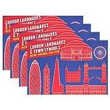 GOSMAO Juego de 6 Mantel Individual Antideslizante Antideslizante Resistente al Calor de poliéster para Mesa de Comedor con símbolos de la Ciudad de Londres