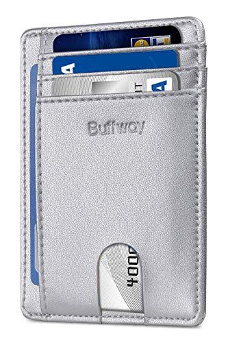 Buffway Slim Minimalist Front Pocket RFID Blocking Leather Wallets For Men Women - Sand Silver