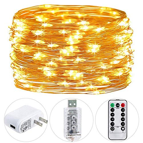 HSicily Fairy Lights Plug in, 8 Modes 33ft 100 LED USB String Lights with Adapter Remote Timer Twinkle Lights for Christmas Thanksgiving Bedroom Patio Christmas Wedding Party Indoor Outdoor …