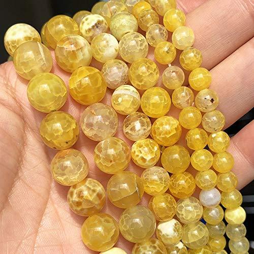 盛世汇众 6 8 10 mm Piedra Natural Agates de Fuego Amarillos Onyx Redondo Redondo Perlas espaciadoras para la joyería Fabricación de Bricolaje Accesorios de Pulsera 15''Strands