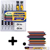 June Gold 4 Premium 2.0 mm 2B Mechanical Pencils, 36 2B Refills, 2 Packs of 36 Uniquely Colored Refills, 2 Smudge Resistant Erasers, Built in Sharpeners & Soft Non-Slip Grip on Each Pencil