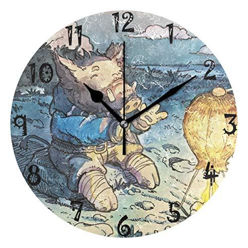 Reloj de pared redondo azalea store con diseño de cerdo, placa redonda silenciosa y sin tic tac.