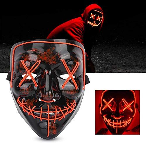 Halloween Máscara, la Purga máscara LED,máscara de Terror terrorista 3 Modos de Iluminación máscara de Cara Resplandor para Festival de Carnaval Cosplay Clubs Party(Rojo)
