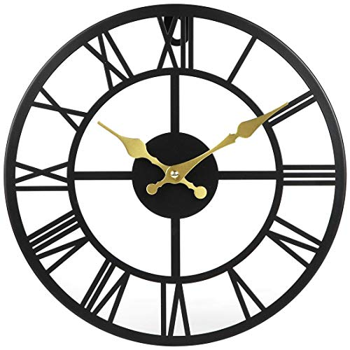 Lily's Home Hanging Wall Clock, Ideal for Indoor or Covered Outdoor Use, Iron, 12 Inches Diameter, Black (Roman)