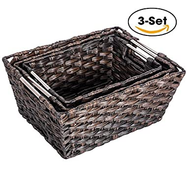 Woven Basket, MaidMAX Set of 3 Wicker Rattan Nesting Baskets Storage Containers Organizers for Shelves Pantry Bedroom Closet Organization