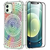 Uneedity Rainbow Henna Mandala Clear Case for iPhone 12/12 Pro Floral Case, Flower iPhone 12 Transparent Case Shockproof Protective Slim Soft TPU iPhone 12 Pro Case for Women Girls 6.1 inch