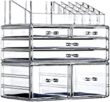 Extra Large Clear Makeup Organizer Skin Care Cosmetic Display Cases Stackable Storage Box Make up Container Cube With 6 Drawers,Set of 3 By Cq acrylic