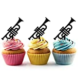 TA0789 Trumpet Music Instrument Silhouette Party Wedding Birthday Acrylic Cupcake Toppers Decor 10 pcs