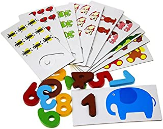 【知育玩具】 木製 アルファベット 動物 絵カードパズル 木製文字数字パズル (数字)