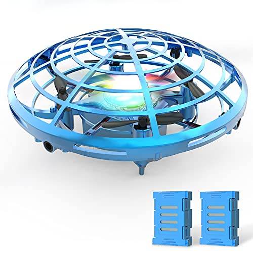 DEERC ドローン 子供用ドローン おもちゃ こども向け UFOドローン ヘリコプター バッテリー2個 ジェスチャー制御 室内 LEDライト付き ハンドコントロール 五つのセンサーが搭載 2段階スピード 自動回避機能 自動ホバリング プレゼント 贈り物 アップグレード版 青