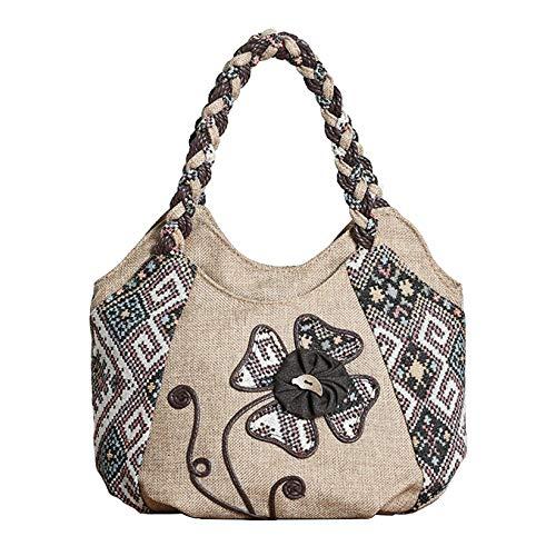 Damenhandtasche Im Chinesischen Stil Mini-Handtaschen Ethnischen Stil Leinwand Weibliche,OneFlower-OneSize