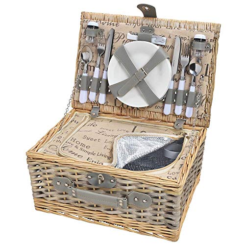 matches21 HOME & HOBBY picknickmand voor 4 personen rieten mand beige/grijs 24 stks inclusief herbruikbare servies & koeltas