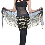 REINDEAR Vogue Style Chiffon Dangling Gold Coins Belly Dance Hip Scarf US Seller