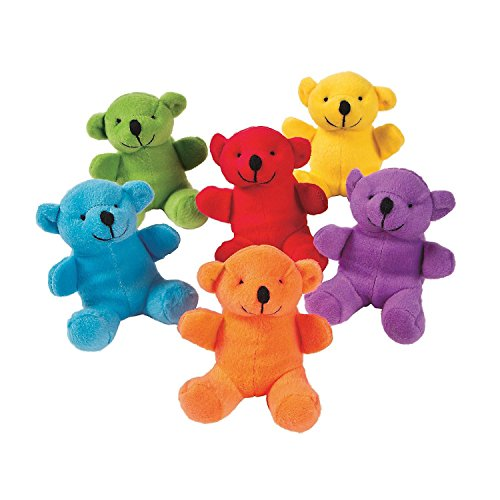 Fun Express Stuffed Teddy Bears in Bright Primary Colors (24 pieces)