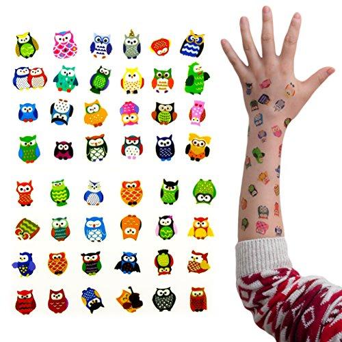 Oblique Unique® Eulen Tattoo Set 48 Stück Kindertattoos Tattoo Verschiedene Motive Kinder Spielen