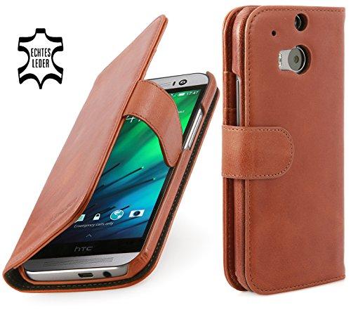 StilGut Talis Schutz-Hülle für HTC One M8 mit Kreditkarten-Fächern aus echtem Leder. Seitlich aufklappbares Flip Hülle in Handarbeit gefertigt für HTC One M8,