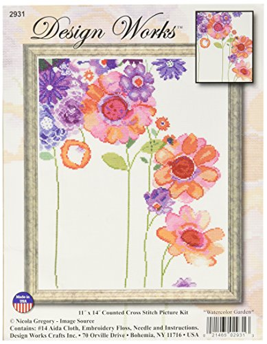 Design Works Crafts, 11' x 14' Counted Cross Stitch Kit, Watercolor Garden