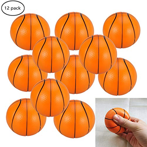 WedFeir Mini Basketball Stress Balls Pack of 12 25 Small Foam Basketballs Stress Relief Basketball Squeeze Balls for Kids Sports Theme Party Favor Toys Birthday Party Game