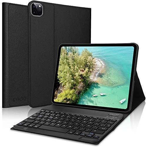 KVAGO Teclado con Funda para iPad Pro 11 2020/2018,Bluetooth Teclado Diseño en Español(Incluyen el ñ) con Inteligente Ultrafino Anti-Scratch Cover Funda para iPad Pro 11 2020/2018,Negro